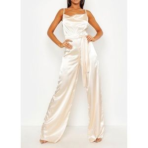 *TALL*  Satin Cowl Neck Cami Tie Jumpsuit